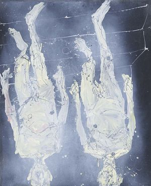Georg Baselitz, Zweimal Treppe runter (Twice Down the Stairs), 2016, oil on canvas, 122 1/16 × 99 5/8 inches (310 × 253 cm) © Georg Baselitz 2016. Photo by Jochen Littkemann, Berlin