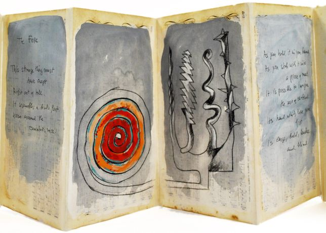 The Fork, 2007, Edition 5/5, Original artwork by George Nama, handwritten by Charles Simić.  Gouache on antique paper