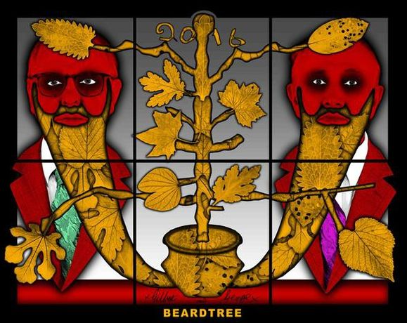 GILBERT & GEORGE BEARDTREE, 2017 mixed media 59.45 x 74.8 inches 151 x 190 cm LM25881 © Gilbert & George. Courtesy the artists and Lehmann Maupin, New York and Hong Kong.
