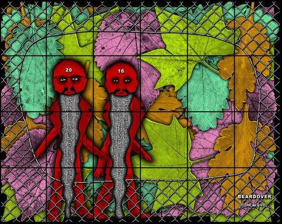 GILBERT & GEORGE BEARDOVER, 2016 mixed media 118.11 x 150 inches 300 x 381 cm LM24441 © Gilbert & George. Courtesy the artists and Lehmann Maupin, New York and Hong Kong.