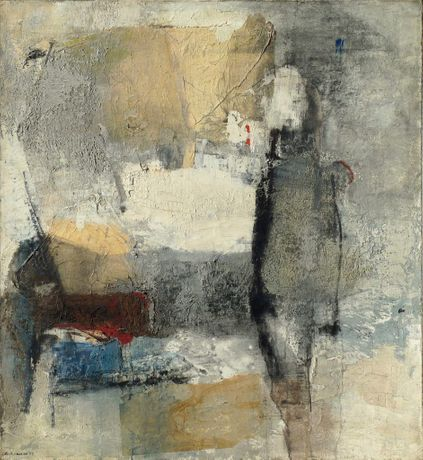 Giuseppe Samtomaso, Palude in grigio (Swamp in grey), 1959, oil on canvas, 124 x 114 cm. Courtesy Private Collection.