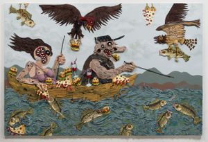 Gone Fishin', 2017 acrylic and socks on canvas over panel, 72 x 108 x 6 inches