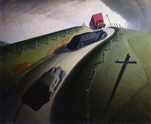 Grant Wood. Death on the Ridge Road, 1935. Oil on Masonite, 32 1/8 x 39 1/16 in. (81.6 x 99.2 cm). Williams College Museum of Art, Williamstown, MA; gift of Cole Porter 47.1.3. Art © Figge Art Museum, successors to the Estate of Nan Wood Graham/Licensed by VAGA, New York, NY