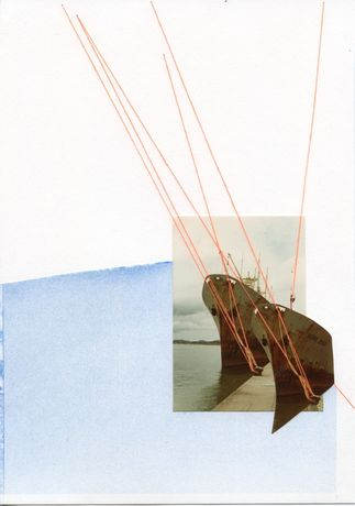 April Gertler. Berlin, Germany. Collage, found image, paper, thread. 0 km (start).