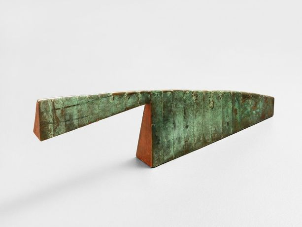 Terry Adkins Elixir, 1986 Copper, wood, and wax 12 x 32 x 3in (30.5 x 81.3 x 7.6cm)