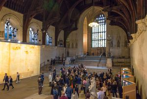 People viewing Jorge Otero-Pailos, The Ethics of Dust (2016) at Westminster Hall, London. Photograph: Will Eckersley, 28 June 2016