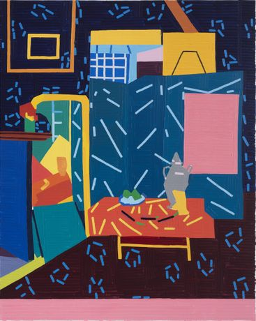 Guy Yanai Still Life with Aubergines II (after Matisse), 2019, Oil on canvas, 150 x 120 cm, Courtesy: Guy Yanai & Praz-Delavallade Paris, Los Angeles