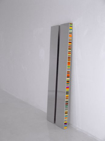 Hans Kotter, Twin (Diptychon), 2017, high gloss, polished stainless steel, slide on Plexiglas, LED Light with colour change, remote control, unique, each 200 cm x 30 cm x 8 cm, Courtesy: Hans Kotter / galerie michaela stock