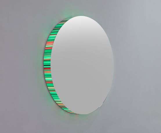 Hans Kotter, Interference, 2014, high gloss, polished stainless steel, slide on Plexiglas, LED Light with colour change, remote control, unique, diameter 100 cm, Courtesy: Hans Kotter / galerie michaela stock