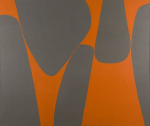 Lorser Feitelson, Magical Space Forms, 1962. oil and enamel on burlap. 50 x 60 inches (127 x 152.4 cm). © The Feitelson / Lundeberg Art Foundation