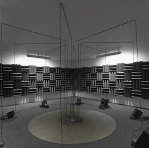 Haroon Mirza, Adam, Eve, others and a UFO, 2013. Courtesy hrm199 and Lisson Gallery