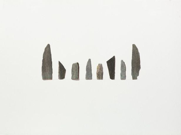 STONE SILHOUETTES II, 2016 Stone on Arches Huile paper 32 1/2 x 25 inches