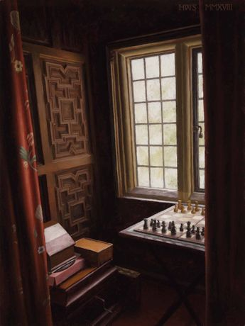 'Rainthorpe – Chess Set', oil on board, 16 x 12ins (40.6 x 30.5cm), by Harry Steen