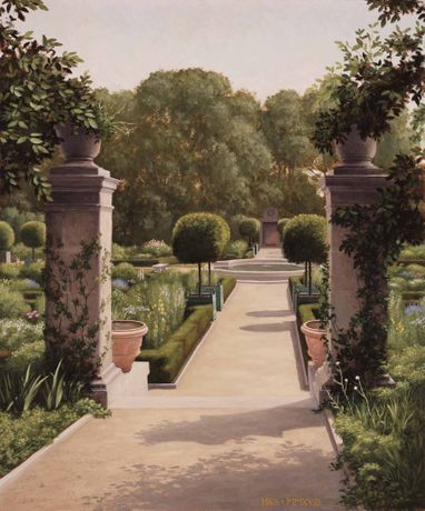 'Garden, Bryn Mawr', oil on board, 24 x 20ins (61 x 50.8cm), by Harry Steen