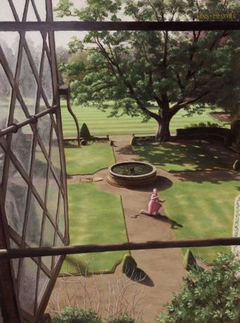 'Rainthorpe – Out Window to Terrace', oil on board, 16 x 12ins (40.6 x 30.5cm), by Harry Steen