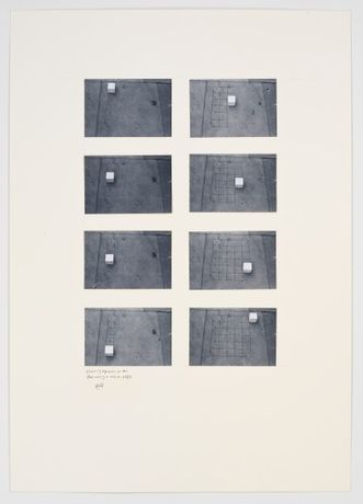 Drawing Squares on the Floor Using a Cube, 1982 Photographs on paperboard in 8 parts Mounted on board, overall dimensions: 38.58 x 28.94 inches (98 x 73.5 cm)