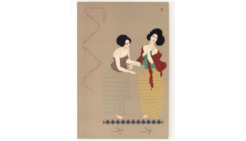 Hayv Kahraman, Kawliya.1,  2014, oil on linen, 96 x 48 x 2 inches © Courtesy of the Artist and Jack Shainman Gallery 20th Street