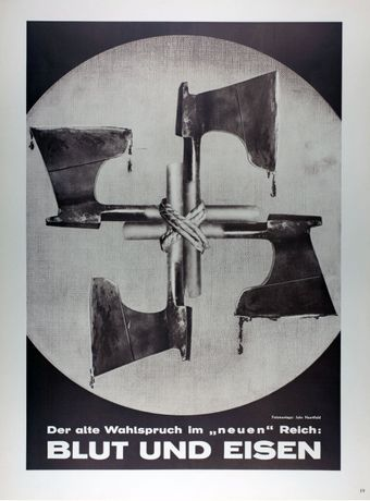 John Heartfield, The Slogan of the Nazi Reich - Blood and Iron, 1934 © The Heartfield Community of Heirs / DACS 2019