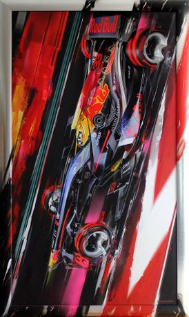 Matus Prochaczka, 33_Max Verstappen Night Race, Digital Artwork Print on Canvas & Acrylic, 73.5''x 44''