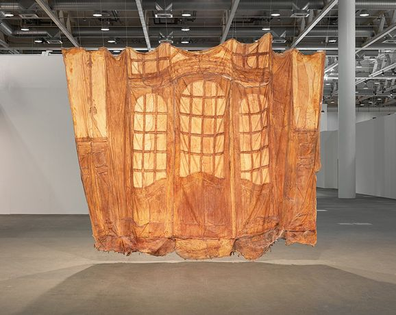 Heidi Bucher, 'Kleines Glasportal, Bellevue Kreuzlingen' (Small glass portal, Bellevue Kreuzlingen), 1988. Textile, latex. Approx. 340 x 465 cm (133¾ x 183 in). Courtesy the Estate of Heidi Bucher. Installation view at Art Basel Unlimited, 2016. Photography by Robert Glowacki, courtesy The Approach, London.