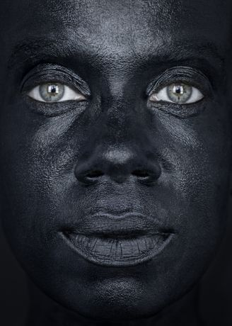 Eva Mueller, Black Face _ 7, 2012, Archival Ink Jet Print, 32 x 23 inches