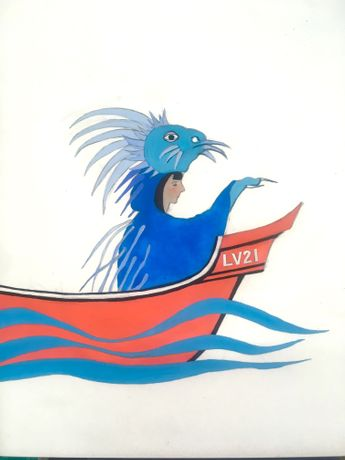 Sarah Sparkes 'The Blue Sea Porcupine Returns' Gouache on paper