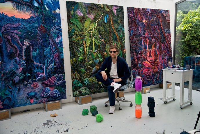 Henry hudson in his east london studio with works from his new sotheby's s|2 exhibition.© 2016 Sotheby's