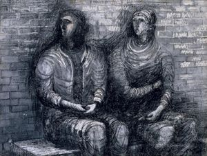Henry Moore, Two Apprehensive Shelterers, 1942, Watercolour and wax crayon on paper, Pallant House Gallery, Chichester (Hussey Bequest, Chichester District Council, 1985) Reproduced by permission of The Henry Moore Foundation