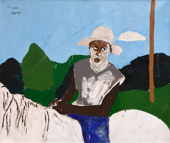 Henry Taylor Man on Horse with Hat, Marfa Naples, 2014 Acrylic on canvas 58 1/4 x 69 3/4 inches