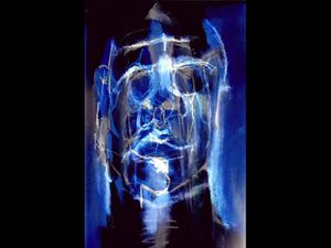 Coloured still image of a face against blue background. Image credit: Pauline Alexander