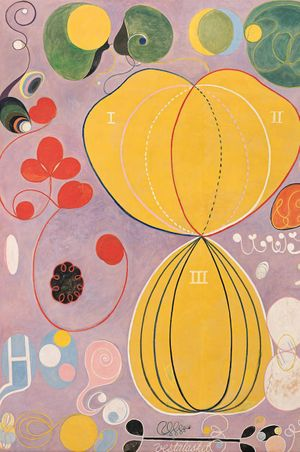 Hilma af Klint, The Ten Largest, No. 7., Adulthood, Group IV, 1907. Tempera on paper mounted on canvas, 315 x 235 cm. Stiftelsen Hilma af Klints Verk. Photo: Albin Dahlström/Moderna Museet