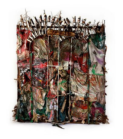 History Refused to Die, Thornton Dial, 2004, Okra stalks and roots, clothing, collaged drawings, tin, wire, steel, Masonite, steel chain, enamel, and spray paint, 8 ft. 6 in. × 87 in. × 23 in. (259.1 × 221 × 58.4 cm) Gift of Souls Grown Deep Foundation from the William S. Arnett Collection, 2014 © Thornton Dial