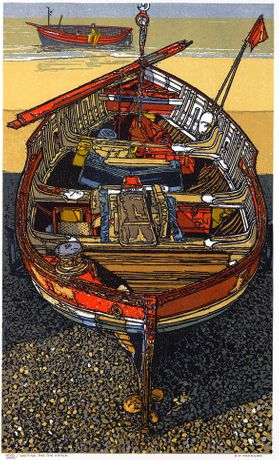 Waiting for the Winch, Linocut by H.J Jackson