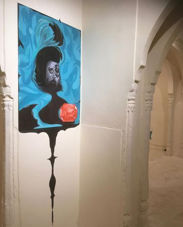 Installation view, painting with wall drawing