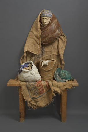 Susan Grabel. Once Upon A Time (1989). Clay, wood, burlap, 63 x 48 x 14. Image courtesy of the Artist.