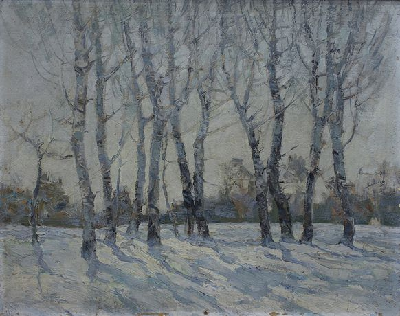 Hong Ling, White Poplars in the Temple of Heaven, 1979, Oil on canvas, 37 x 46 cm,