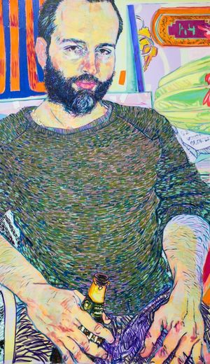 Hope Gangloff, Ryan Hart, 2017, Acrylic on canvas, 62 x 36 in.