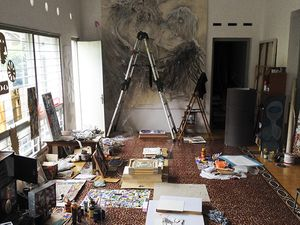 Artist's studio in Rumah Kijang Mizuma, artworks by Aiko Yamamoto and other artists, photograph taken in 2015.