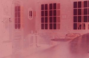 Bedroom - Positive Pink A seven day exposure on photo paper using Zenit E camera 7cmx5cm 2020 by Henny Burnett