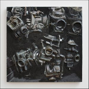 Image: Gina Beavers, Basket of Carburetors, 2014 Acrylic on canvas 30 x 30 inches