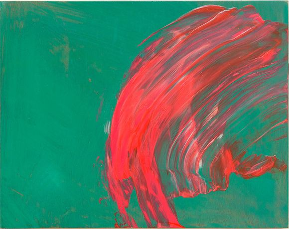 Howard Hodgkin, Over to You, 2015–17, oil on wood, 9 3/4 × 12 3/8 inches (24.8 × 31.4 cm) © Howard Hodgkin. Photo by Prudence Cuming Associates