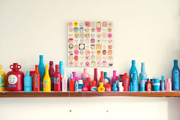 David Shillinglaw's painted bottles for his collection 'Human Soup'