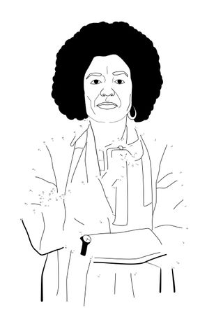 Connect the Dots: Angela Davis, 2019 Polymer relief print 13 x 18 inches  Edition of 25 Printed by Ruth Lingen at Line Press Limited