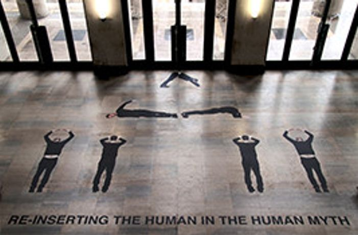 Theo Turpin, Re-Inserting the Human in the Human Myth, Floor Vinyl installed at Palais de Tokyo, 2013 with Remy Heritier (photograph by Lou Marcellin)