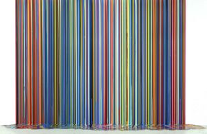 Ian Davenport, Mirrored Place, 2017, acrylic on stainless steel mounted on aluminium panels (with floor piece) four panels, 118 1/8 x 157 1/2 in / 300 x 400 cm