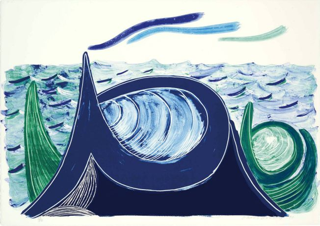 David Hockney The Wave, A Lithograph Lithograph printed in colours, 1990 Signed in pencil, numbered from the edition of 50 Printed on mould-made Arches 88 paper by Lee Funderburg Published by Tyler Graphics, New York (Tokyo 324) Sheet: 68.5 x 97cm  Courtesy of Sims Reed Gallery