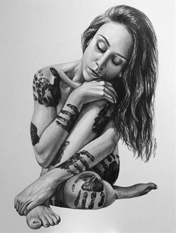 Jenna Rose Simon, Every Touch Leaves a Mark, Pencil on Paper, 20''x 16''