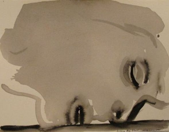Marlene Dumas / Kissing the Floor, 2014 / Watercolour on paper / 27 x 22 cm / Private Collection, London. Courtesy of Frith Street Gallery.