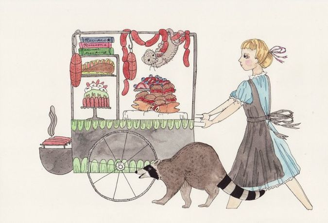 Dana Sherwood  Wild Animal's Food Cart, 2014 Ink and watercolor on paper  7 x 10 in