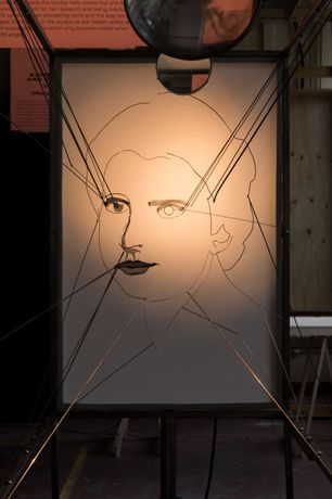 Three dimensional illuminated projection of scientist Rosalind Franklin